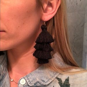 Club Monaco black tassel earrings